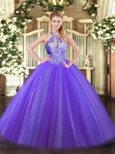 Floor Length Purple Sweet 16 Dress Halter Top Sleeveless Lace Up