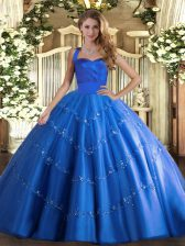 Blue Ball Gowns Appliques Quinceanera Gowns Lace Up Tulle Sleeveless Floor Length