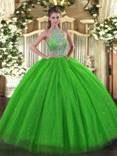 Ball Gowns Halter Top Sleeveless Tulle Floor Length Lace Up Beading Vestidos de Quinceanera