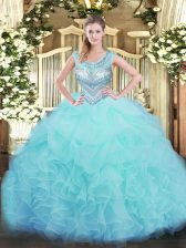 Scoop Sleeveless Organza Quinceanera Dresses Beading and Ruffles and Pick Ups Lace Up