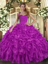 Adorable Organza Halter Top Sleeveless Lace Up Ruffles Sweet 16 Dresses in Fuchsia