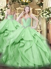 Elegant Green Ball Gowns Beading and Ruffles Quinceanera Gown Lace Up Tulle Sleeveless Floor Length