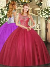 Coral Red Sleeveless Floor Length Beading Lace Up 15th Birthday Dress