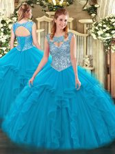 Sleeveless Floor Length Beading and Ruffles Lace Up Quinceanera Gowns with Blue