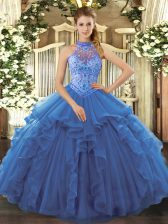 Luxurious Blue Halter Top Lace Up Beading and Embroidery and Ruffles Sweet 16 Dresses Sleeveless