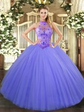 Deluxe Lavender Sleeveless Beading and Embroidery Floor Length Quinceanera Dresses