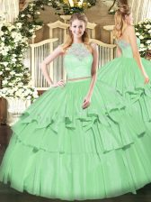 Organza Sleeveless Floor Length Ball Gown Prom Dress and Lace and Ruffled Layers