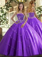 Eye-catching Lavender Tulle Lace Up Quinceanera Gown Sleeveless Floor Length Beading and Appliques