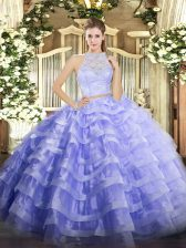 Fashion Lavender Sleeveless Lace and Ruffled Layers Floor Length Quince Ball Gowns