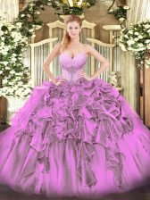 Lilac Ball Gowns Beading and Ruffles 15th Birthday Dress Lace Up Organza Sleeveless Floor Length