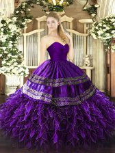 Exquisite Sleeveless Organza and Taffeta Floor Length Zipper Quince Ball Gowns in Purple with Embroidery and Ruffles