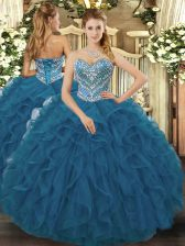 Edgy Teal Lace Up Quince Ball Gowns Beading and Ruffled Layers Sleeveless Floor Length