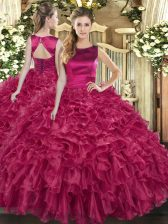 Cute Floor Length Fuchsia 15th Birthday Dress Organza Sleeveless Ruffles