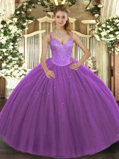 Fashionable Purple Sleeveless Tulle Lace Up Sweet 16 Quinceanera Dress for Military Ball and Sweet 16 and Quinceanera