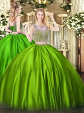 Beautiful Sleeveless Floor Length Beading Lace Up Sweet 16 Dresses with