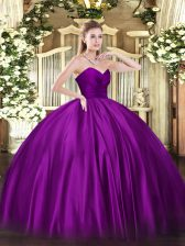 Purple Ball Gowns Organza Sweetheart Sleeveless Ruching Floor Length Zipper Quince Ball Gowns