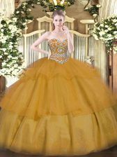 Organza Sweetheart Sleeveless Lace Up Beading and Ruffled Layers Quinceanera Gown in Brown
