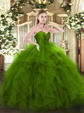 Ruffles 15th Birthday Dress Green Zipper Sleeveless Floor Length