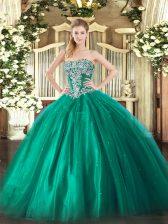Luxury Turquoise Lace Up Strapless Beading Sweet 16 Dresses Tulle Sleeveless
