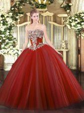 Custom Design Strapless Sleeveless Ball Gown Prom Dress Floor Length Beading Wine Red Tulle