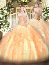 Dynamic Multi-color Quince Ball Gowns Military Ball and Sweet 16 and Quinceanera with Beading and Ruffles Off The Shoulder Sleeveless Lace Up
