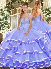 Lavender Ball Gowns Appliques and Ruffled Layers Quinceanera Gowns Lace Up Organza Sleeveless Floor Length
