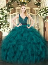 Fitting Straps Sleeveless Quince Ball Gowns Floor Length Beading and Ruffles Teal Organza