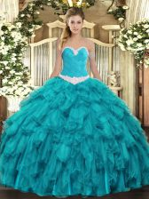 Dazzling Ball Gowns Vestidos de Quinceanera Teal Sweetheart Organza Sleeveless Floor Length Lace Up