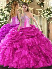 Top Selling Hot Pink Lace Up Sweetheart Beading and Ruffles and Pick Ups Sweet 16 Dress Organza Sleeveless