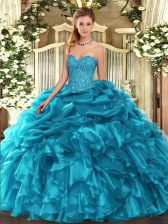 Teal Sweetheart Lace Up Beading and Ruffles and Pick Ups Sweet 16 Dresses Sleeveless