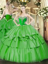 Super Green Ball Gowns Beading and Ruffled Layers 15th Birthday Dress Lace Up Organza and Taffeta Sleeveless Floor Length