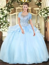 Ball Gowns Sweet 16 Dresses Aqua Blue Scoop Organza and Tulle Sleeveless Floor Length Clasp Handle