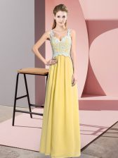 Hot Sale Yellow Chiffon Zipper Dress for Prom Sleeveless Floor Length Lace