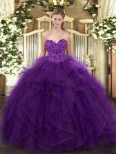 Most Popular Purple Ball Gowns Sweetheart Sleeveless Organza Floor Length Lace Up Ruffles 15th Birthday Dress