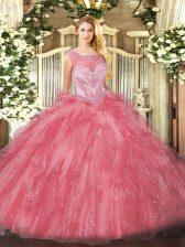Fancy Scoop Sleeveless Zipper Quinceanera Gown Rose Pink Organza