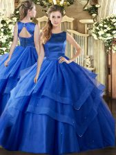 Scoop Sleeveless Tulle Quinceanera Dress Ruffled Layers Lace Up