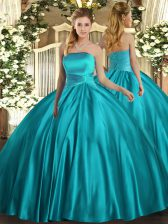 Noble Satin Strapless Sleeveless Lace Up Ruching Quinceanera Dresses in Teal