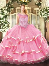 Sleeveless Floor Length Beading and Ruffled Layers Zipper Quinceanera Gown with Rose Pink
