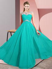 Sleeveless Beading Clasp Handle Prom Dresses