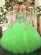 Shining Sleeveless Beading and Ruffles Floor Length Sweet 16 Dress