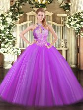 Floor Length Purple Ball Gown Prom Dress Halter Top Sleeveless Lace Up
