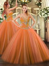 Low Price Orange Red Tulle Lace Up Quinceanera Gown Sleeveless Floor Length Beading