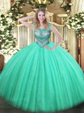 Turquoise Ball Gowns Scoop Sleeveless Tulle and Sequined Floor Length Lace Up Beading 15th Birthday Dress