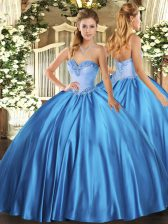 Nice Satin Sweetheart Sleeveless Lace Up Beading Quinceanera Gowns in Baby Blue