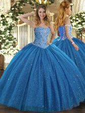 Blue Sweetheart Lace Up Beading Quinceanera Dresses Sleeveless