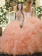 Peach 15th Birthday Dress Military Ball and Sweet 16 and Quinceanera with Beading and Ruffles and Pick Ups High-neck Sleeveless Lace Up