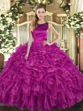 New Style Scoop Sleeveless Organza Quinceanera Gowns Ruffles Lace Up