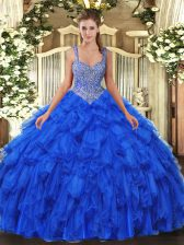 Organza Sleeveless Floor Length Quince Ball Gowns and Beading and Ruffles