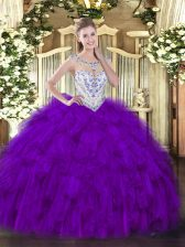 Purple 15 Quinceanera Dress Military Ball and Sweet 16 and Quinceanera with Beading and Ruffles Scoop Sleeveless Zipper
