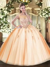 Suitable Peach Scoop Zipper Beading and Appliques 15th Birthday Dress Sleeveless